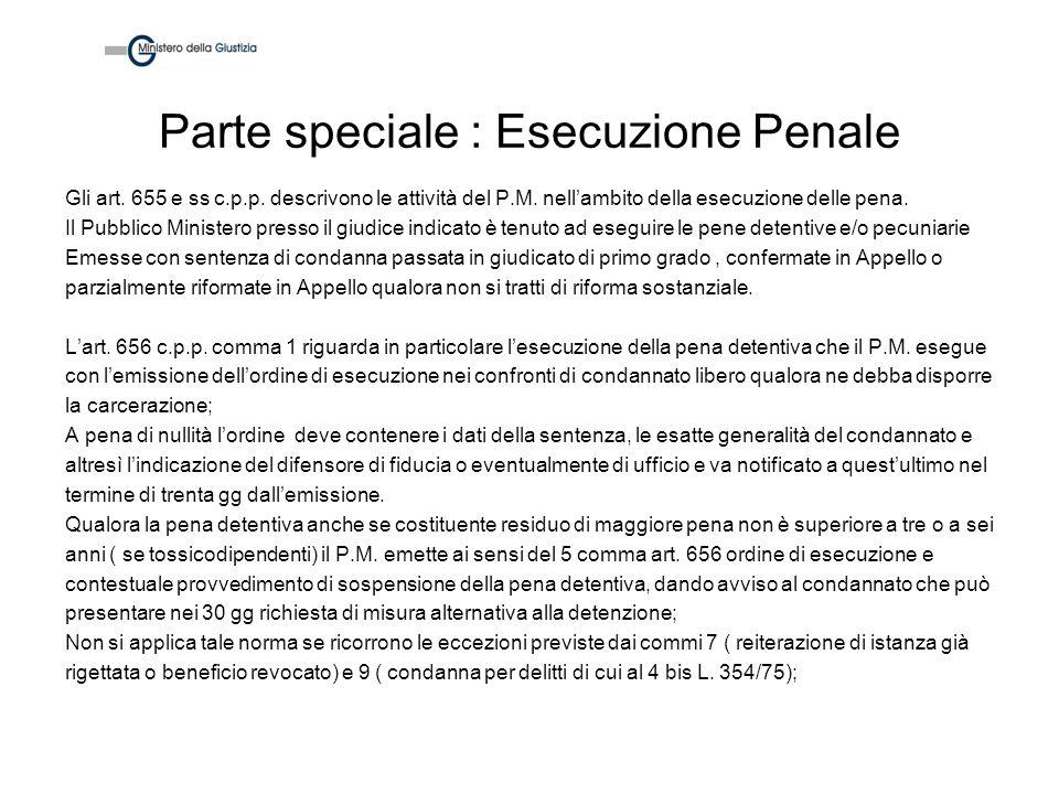 Parte speciale : Esecuzione Penale