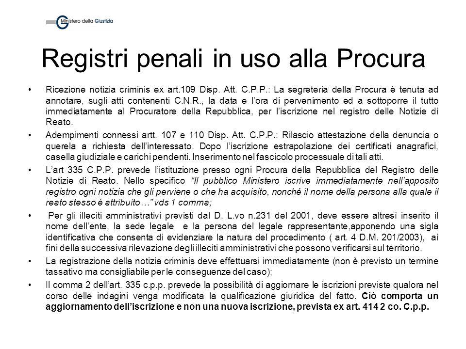 Registri penali in uso alla Procura