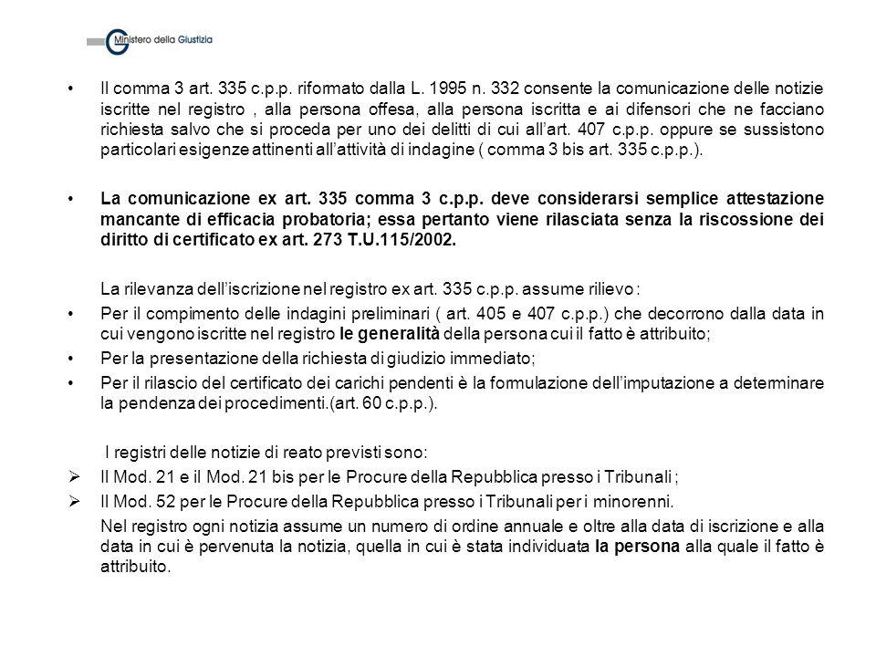 Il comma 3 art. 335 c. p. p. riformato dalla L. 1995 n