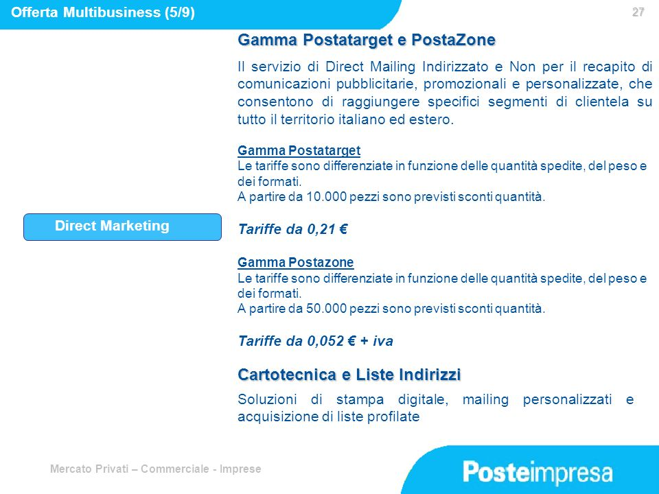 Gamma Postatarget e PostaZone