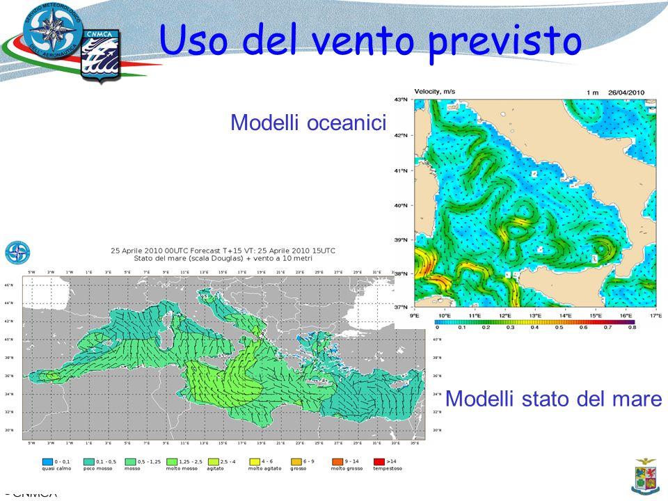 Uso del vento previsto Modelli oceanici Modelli stato del mare 12