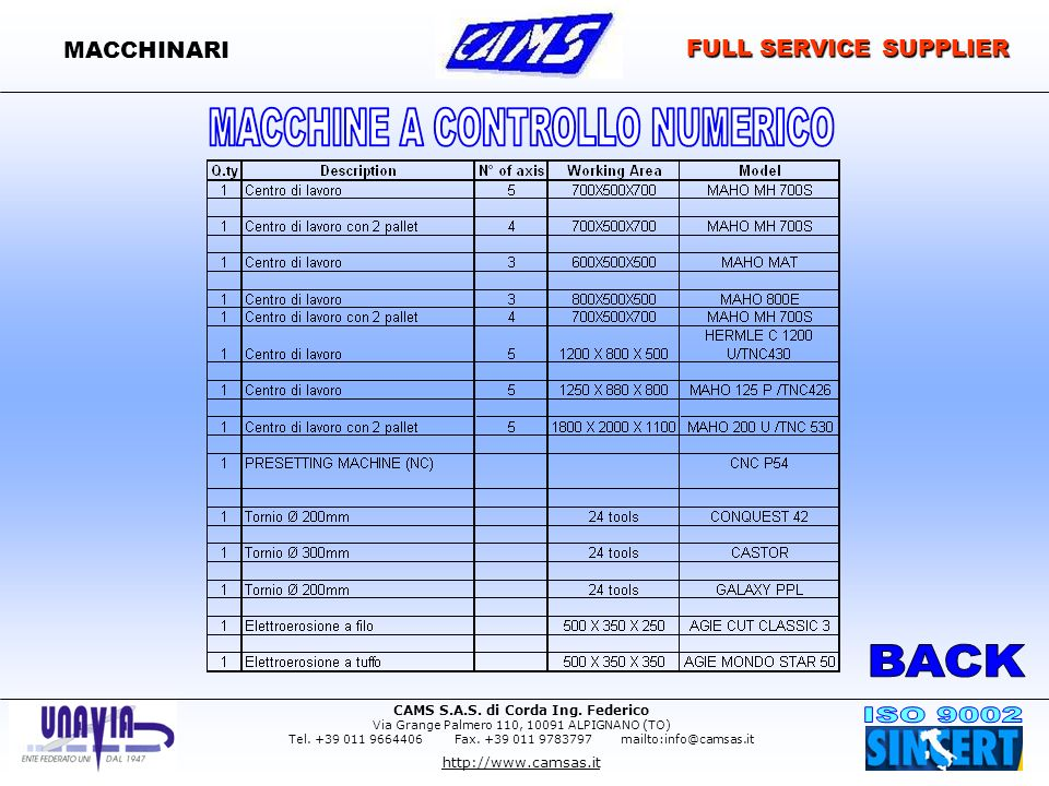 MACCHINARI FULL SERVICE SUPPLIER BACK