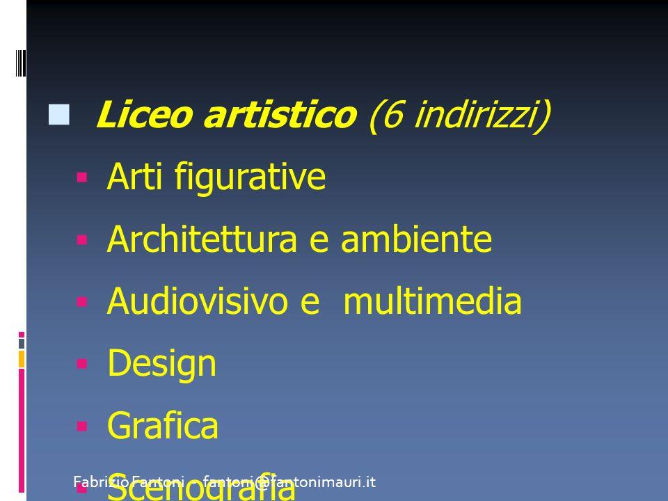 Liceo artistico (6 indirizzi) Arti figurative Architettura e ambiente