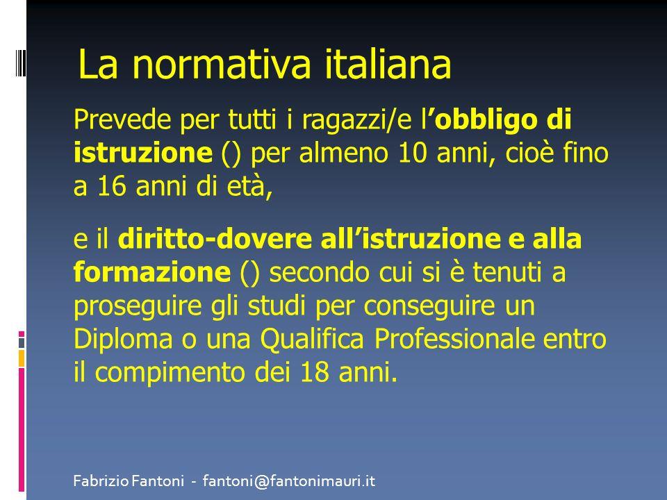 La normativa italianaPrevede per tutti i ragazzi/e l'obbligo di istruzione () per almeno 10 anni, cioè fino a 16 anni di età,