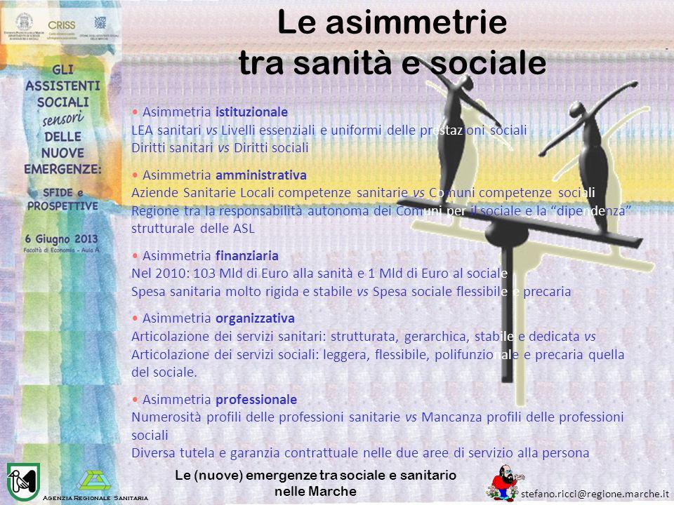 Le asimmetrie tra sanità e sociale