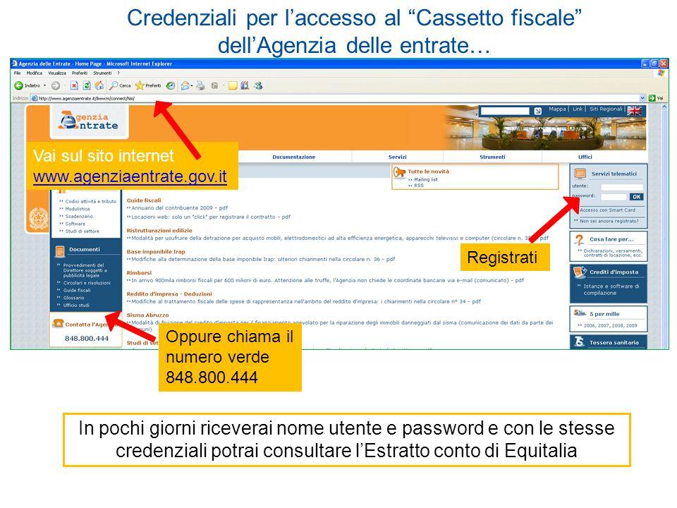 Credenziali per l'accesso al Cassetto fiscale