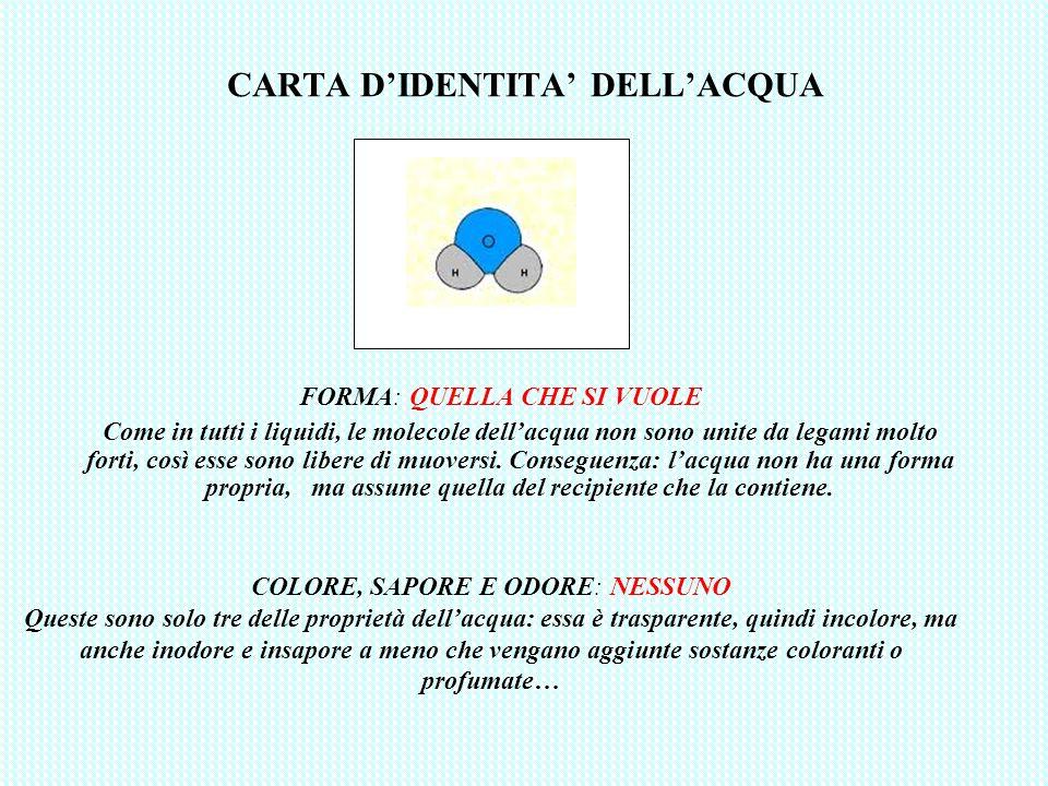 CARTA D'IDENTITA' DELL'ACQUA