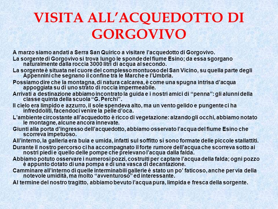 VISITA ALL'ACQUEDOTTO DI GORGOVIVO