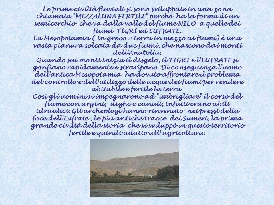 Le prime civiltà fluviali si sono sviluppate in una zona chiamata MEZZALUNA FERTILE perché ha la forma di un semicerchio che va dalla valle del fiume NILO a quelle dei fiumi TIGRI ed EUFRATE.