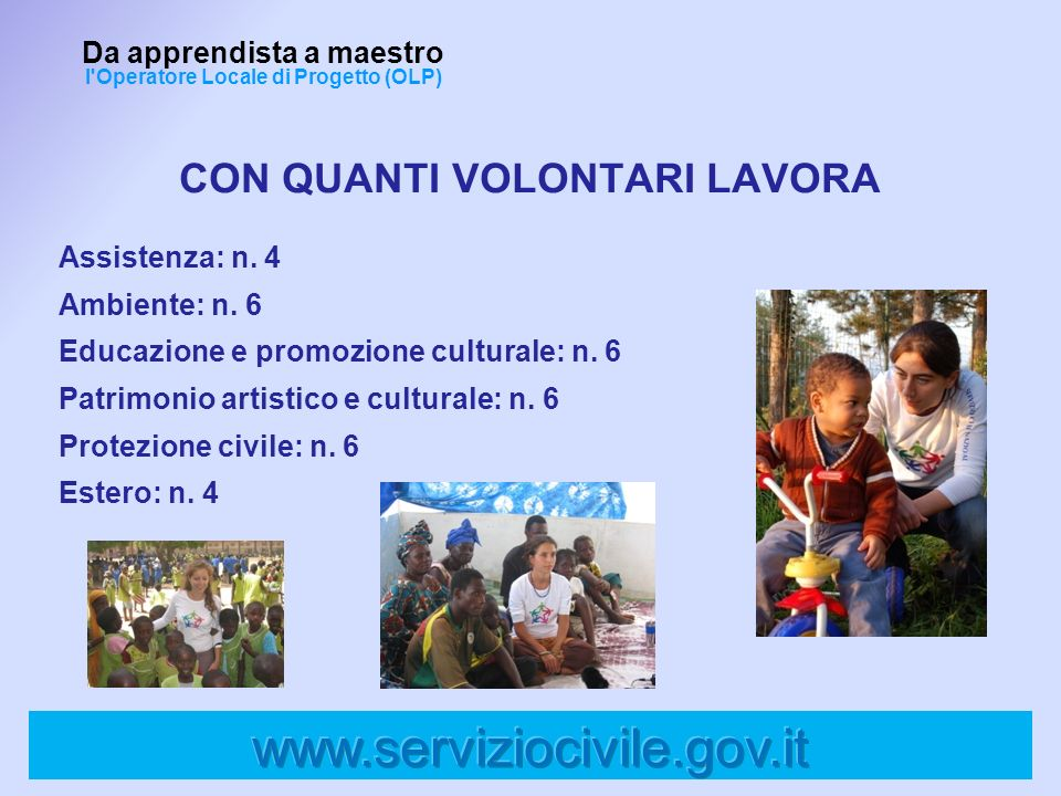 www.serviziocivile.gov.it CON QUANTI VOLONTARI LAVORA