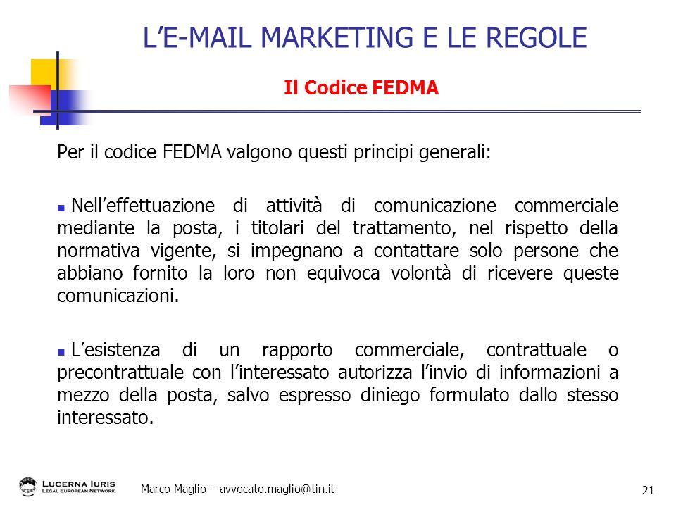 L'E-MAIL MARKETING E LE REGOLE Il Codice FEDMA