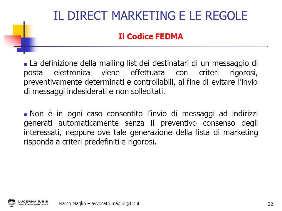 IL DIRECT MARKETING E LE REGOLE Il Codice FEDMA