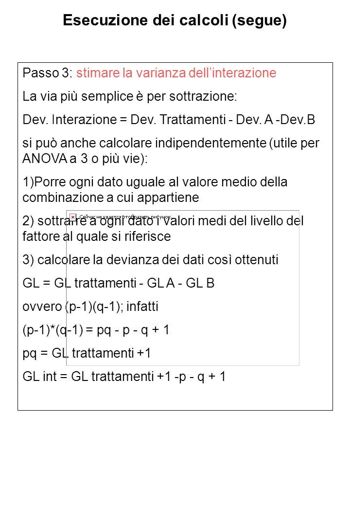 Esecuzione dei calcoli (segue)