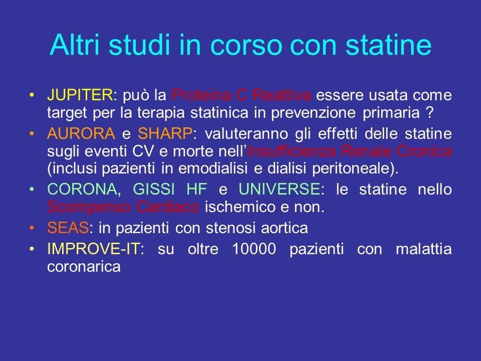 Altri studi in corso con statine
