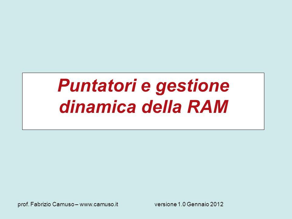 Puntatori e gestione dinamica della RAM