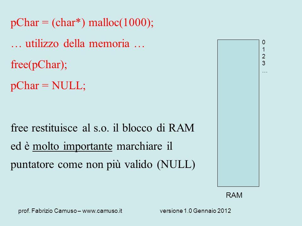 pChar = (char*) malloc(1000); … utilizzo della memoria … free(pChar);