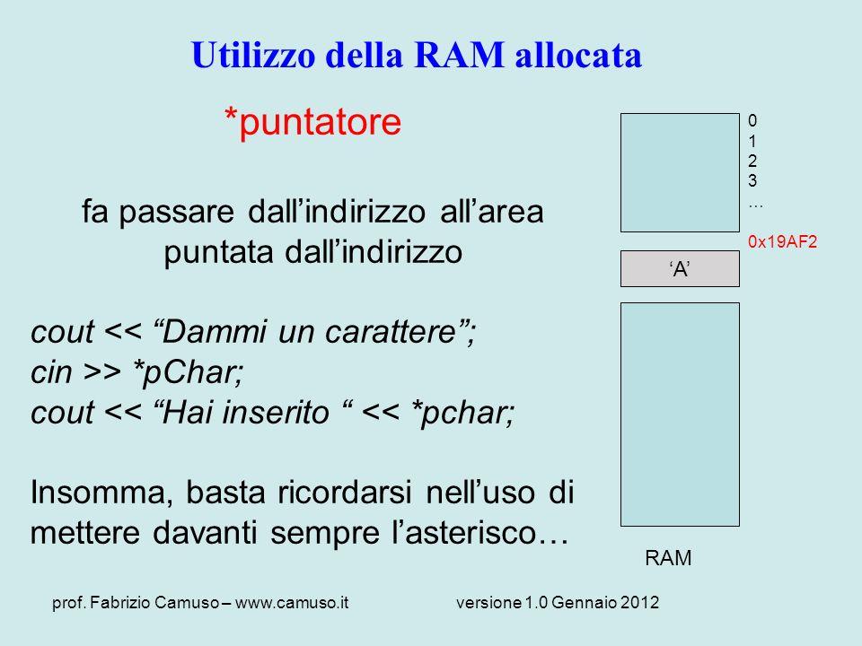 Utilizzo della RAM allocata