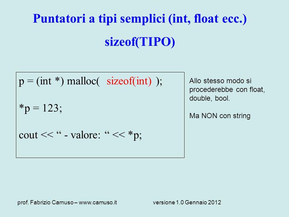 Puntatori a tipi semplici (int, float ecc.)