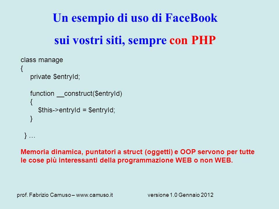 Un esempio di uso di FaceBook sui vostri siti, sempre con PHP