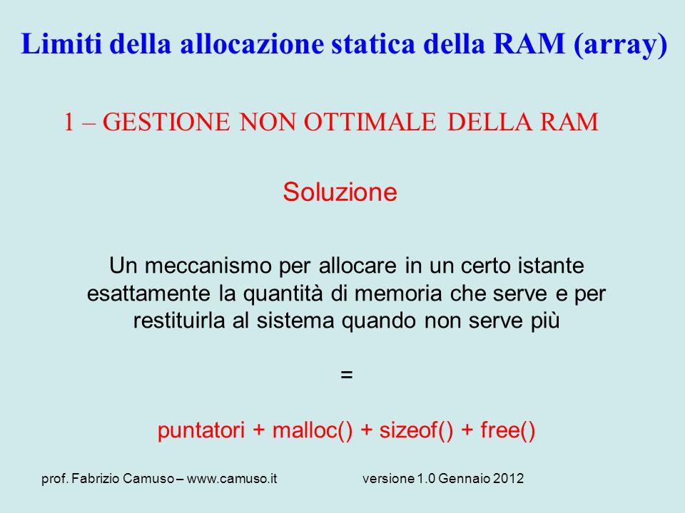 Limiti della allocazione statica della RAM (array)
