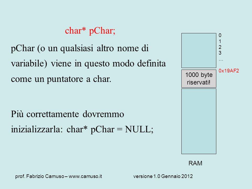 Più correttamente dovremmo inizializzarla: char* pChar = NULL;