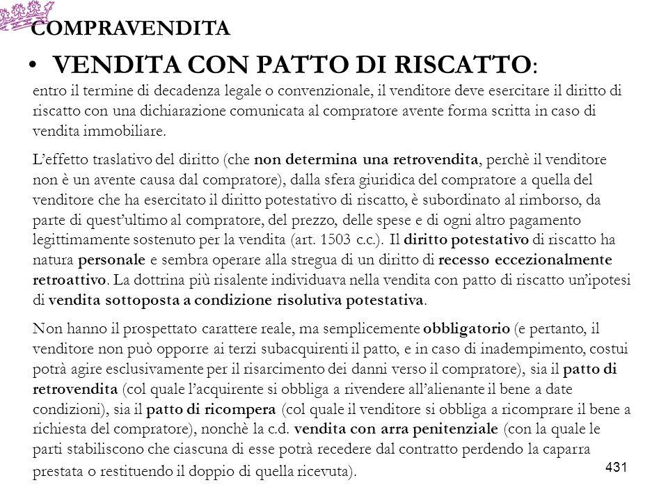 VENDITA CON PATTO DI RISCATTO: