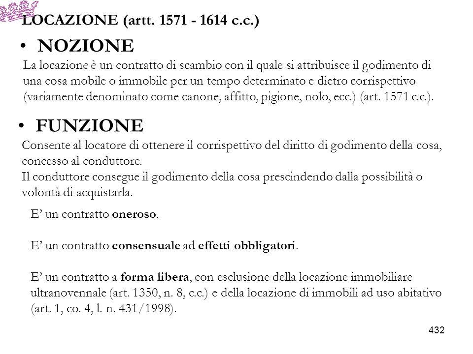NOZIONE FUNZIONE LOCAZIONE (artt. 1571 - 1614 c.c.)