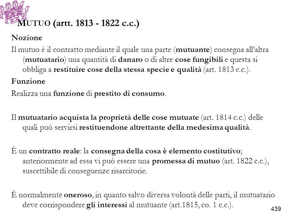Mutuo (artt. 1813 - 1822 c.c.) Nozione