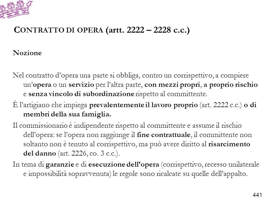 Contratto di opera (artt. 2222 – 2228 c.c.)