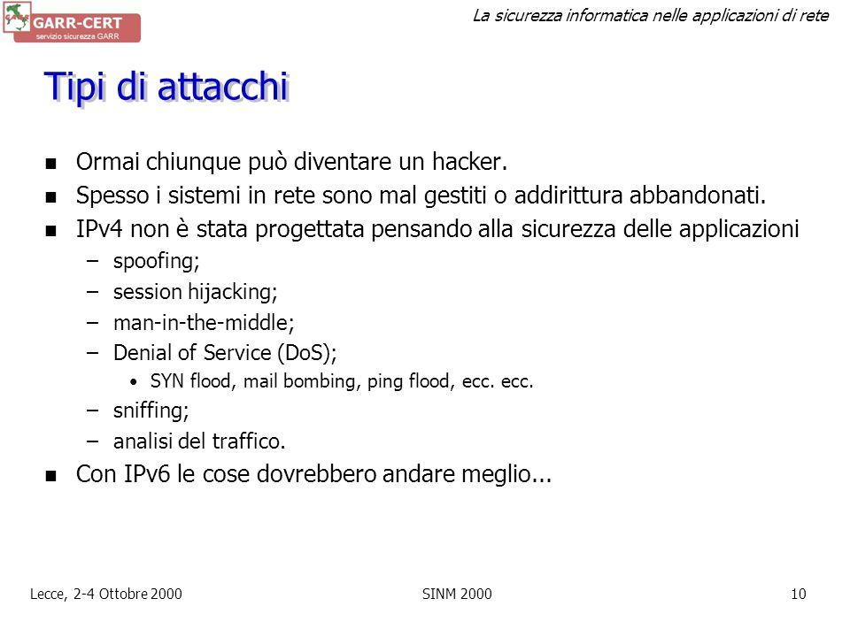 Tipi di attacchi Ormai chiunque può diventare un hacker.