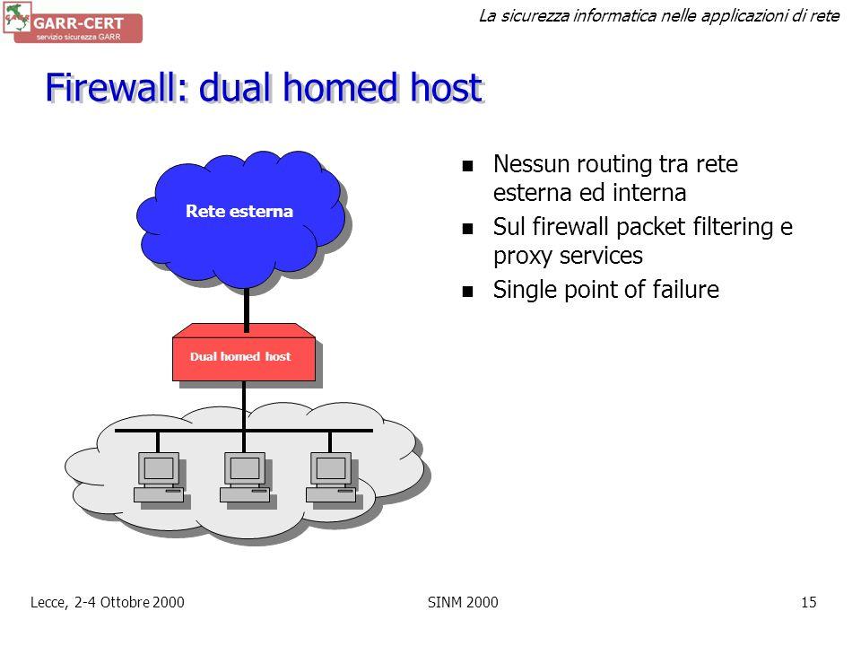 Firewall: dual homed host