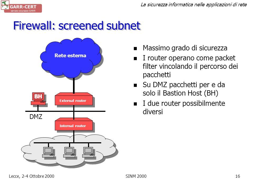 Firewall: screened subnet