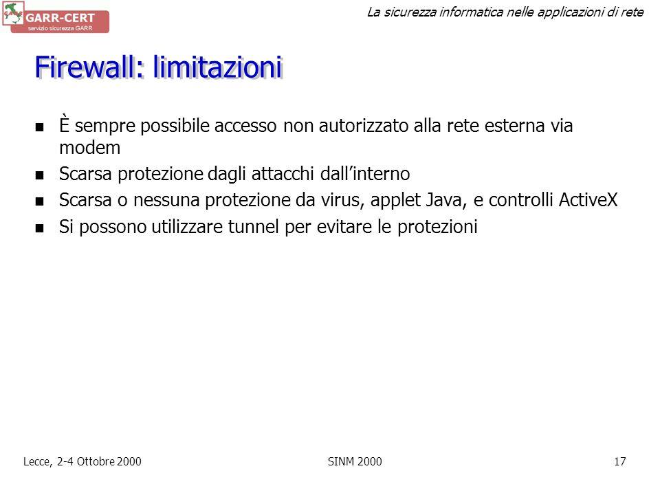 Firewall: limitazioni