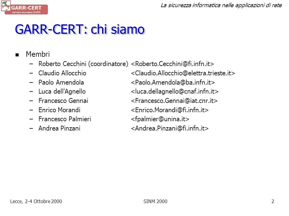 GARR-CERT: chi siamo Membri