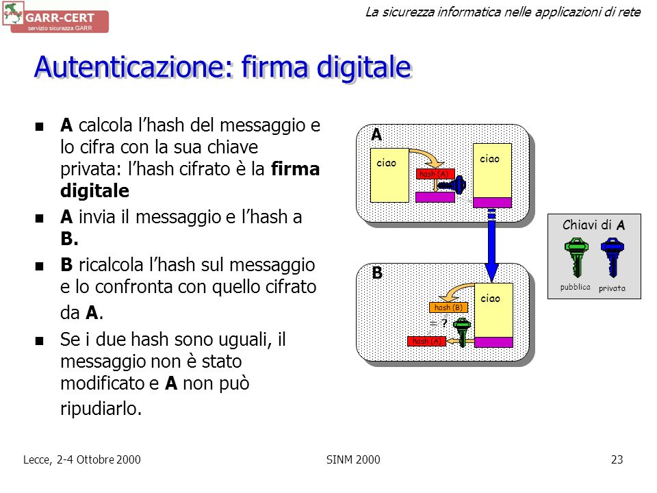 Autenticazione: firma digitale