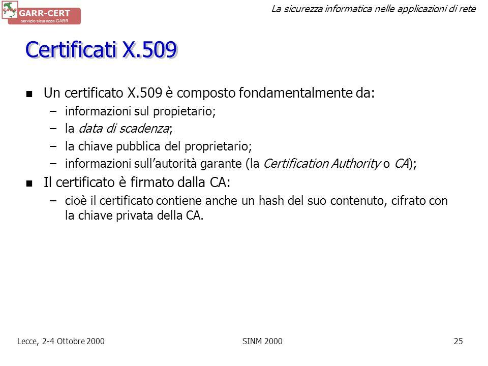 Certificati X.509 Un certificato X.509 è composto fondamentalmente da: