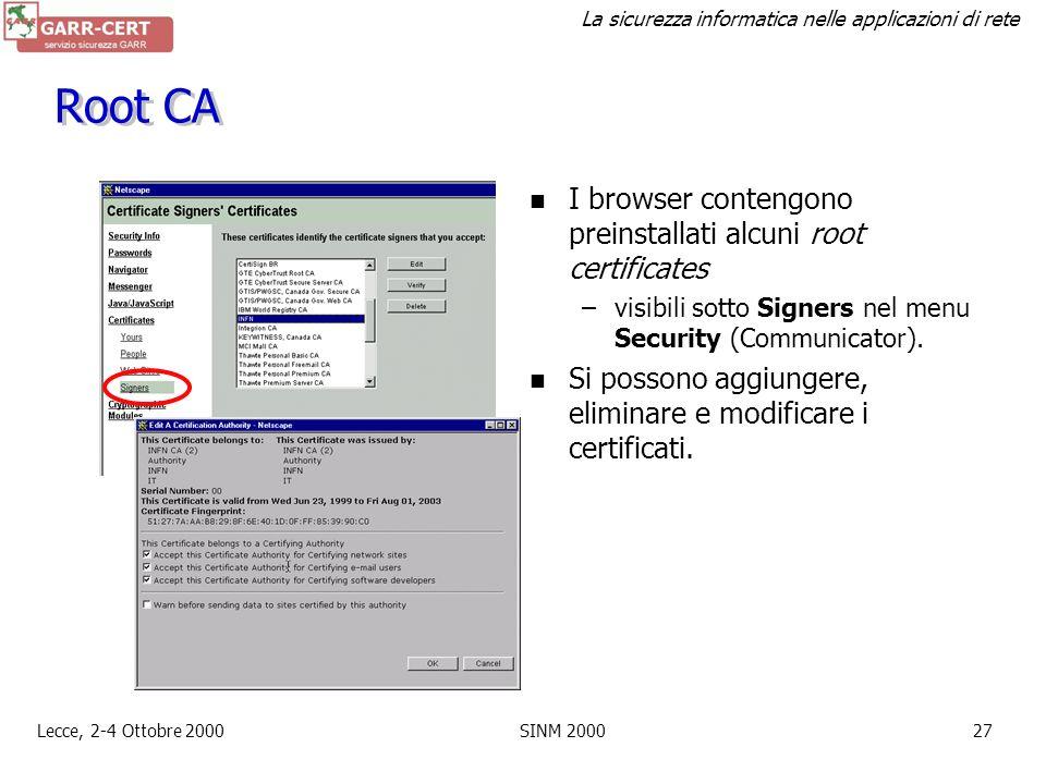 Root CA I browser contengono preinstallati alcuni root certificates