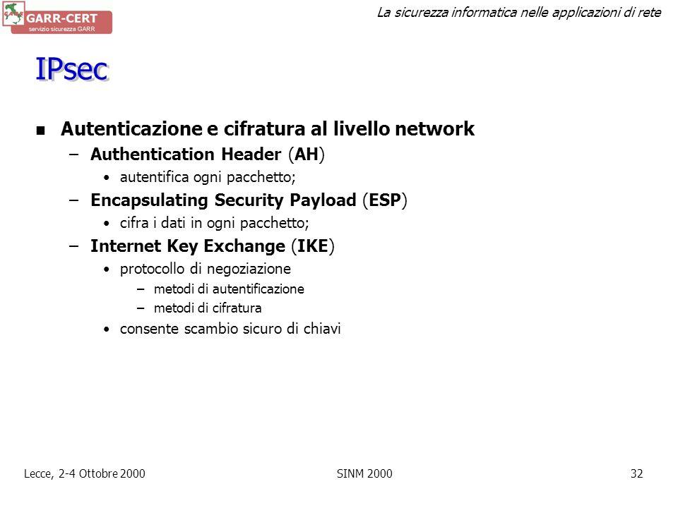 IPsec Autenticazione e cifratura al livello network