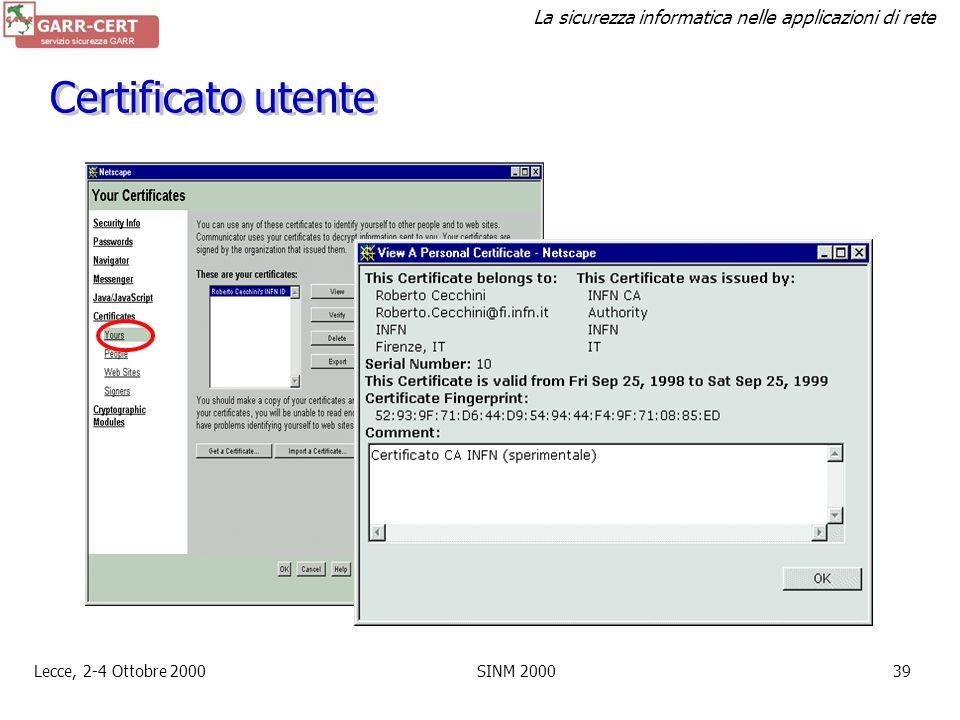 Certificato utente Lecce, 2-4 Ottobre 2000 SINM 2000