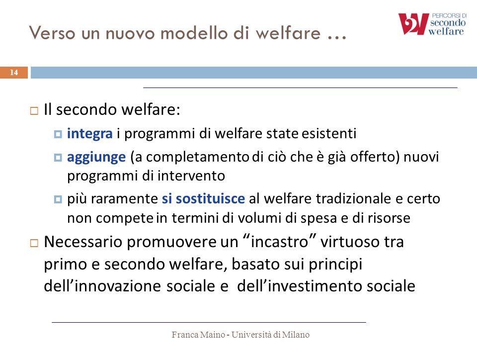 Verso un nuovo modello di welfare …