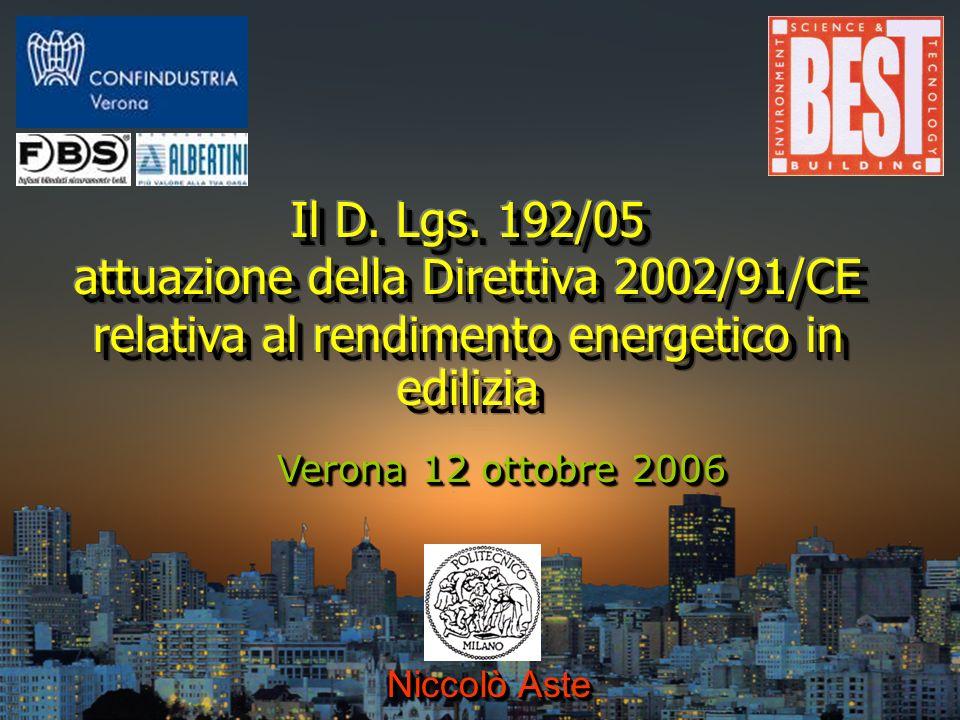 attuazione della Direttiva 2002/91/CE