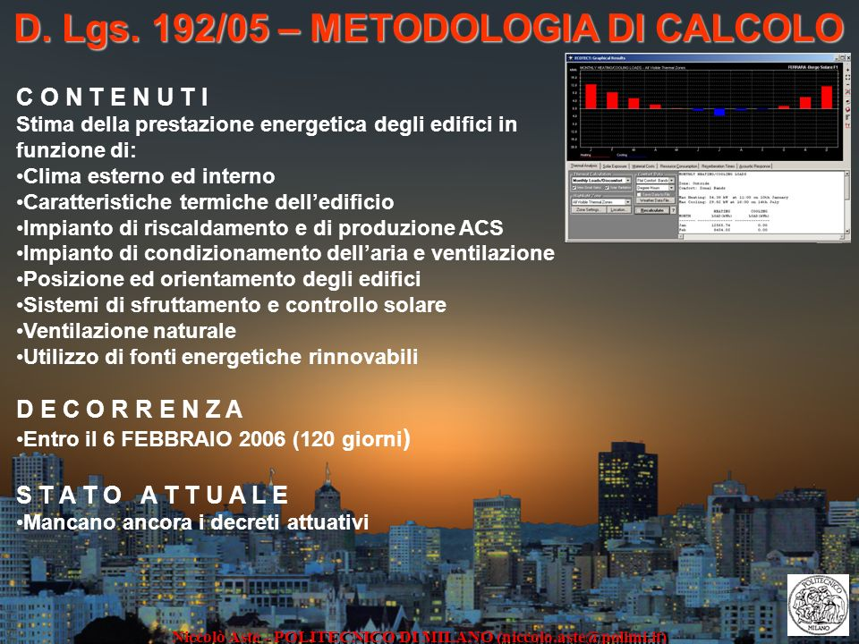 D. Lgs. 192/05 – METODOLOGIA DI CALCOLO