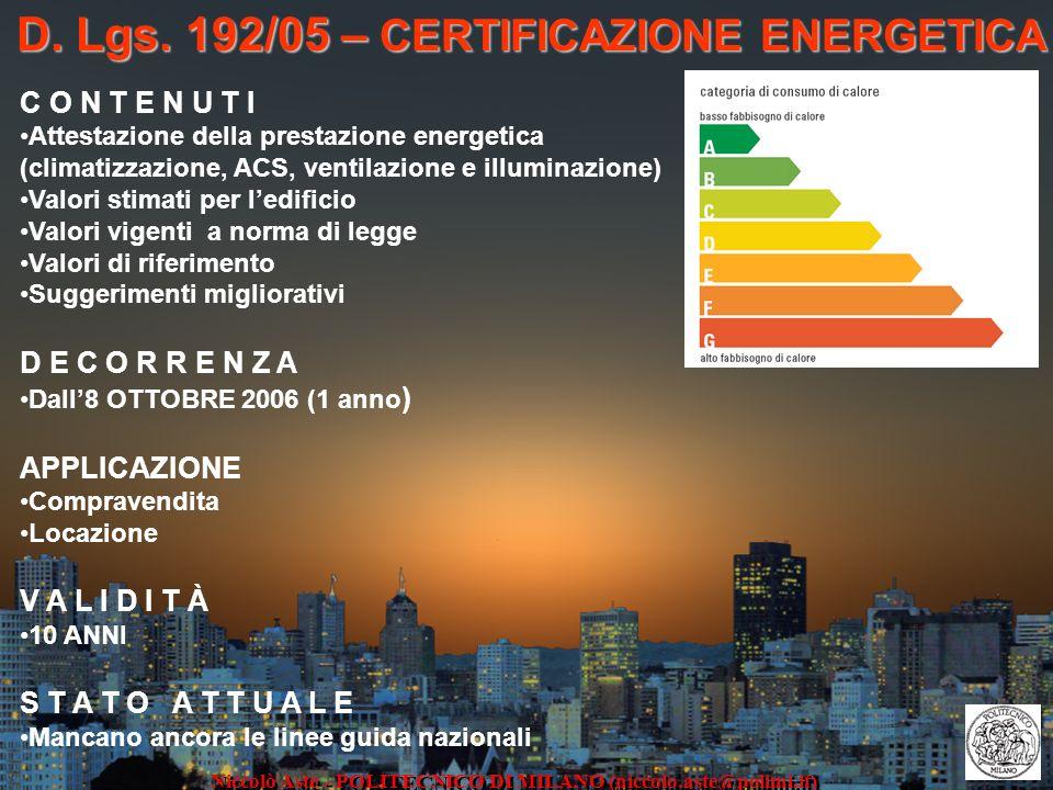 D. Lgs. 192/05 – CERTIFICAZIONE ENERGETICA