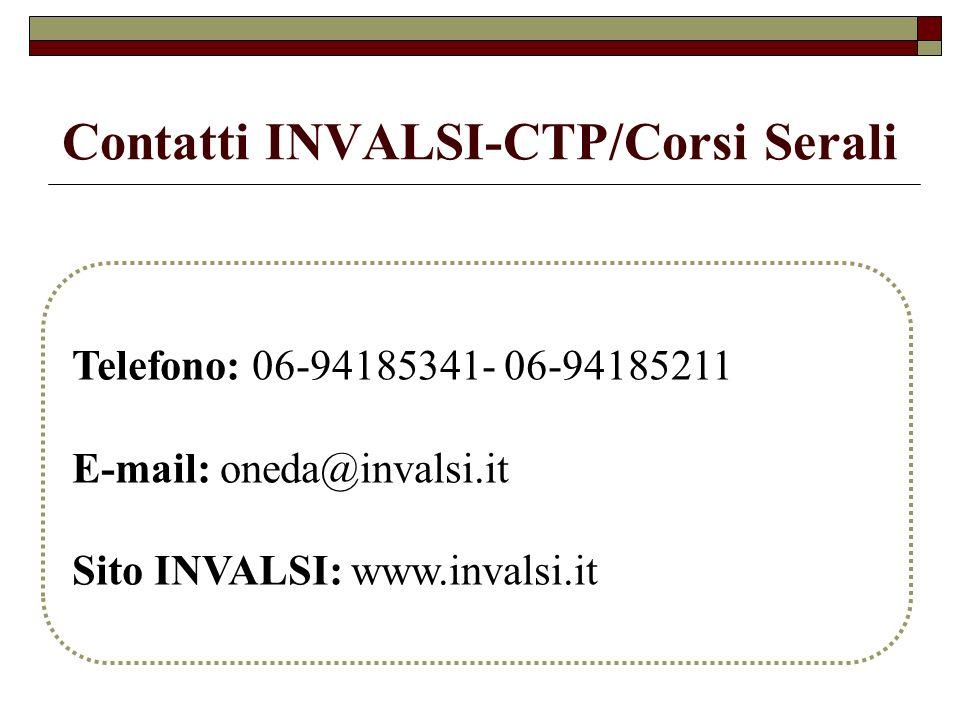 Contatti INVALSI-CTP/Corsi Serali