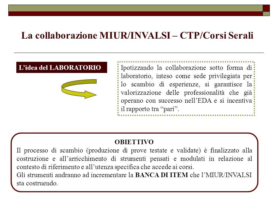 La collaborazione MIUR/INVALSI – CTP/Corsi Serali