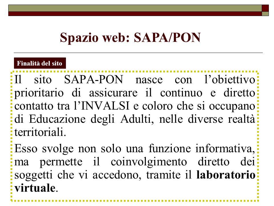 Spazio web: SAPA/PON Finalità del sito.