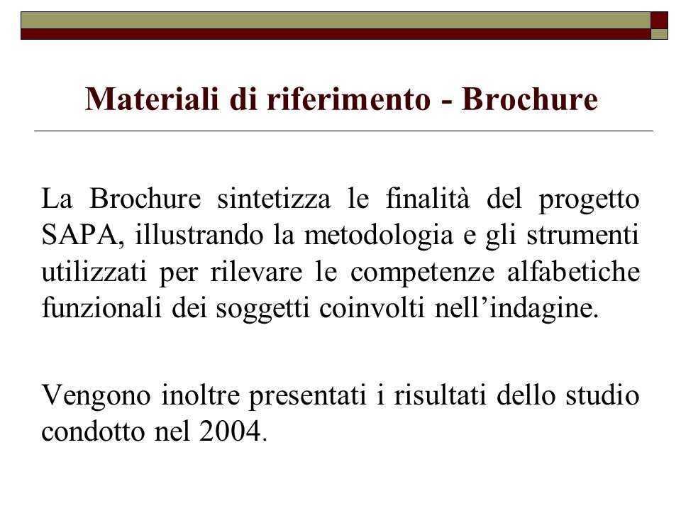 Materiali di riferimento - Brochure
