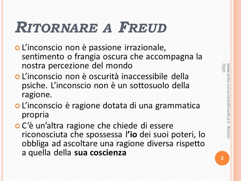 Ritornare a Freud L'inconscio non è passione irrazionale, sentimento o frangia oscura che accompagna la nostra percezione del mondo.