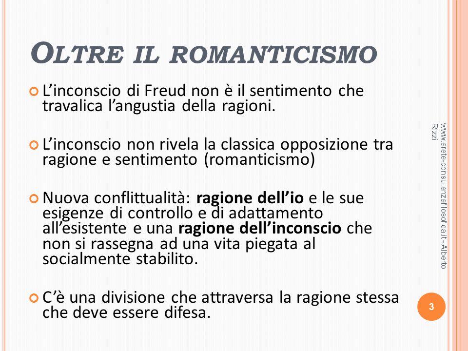 Oltre il romanticismo L'inconscio di Freud non è il sentimento che travalica l'angustia della ragioni.