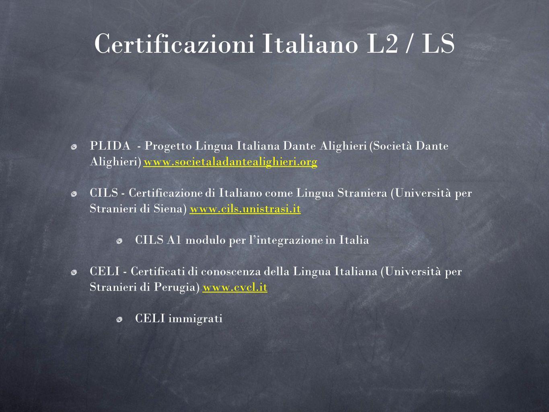 Certificazioni Italiano L2 / LS